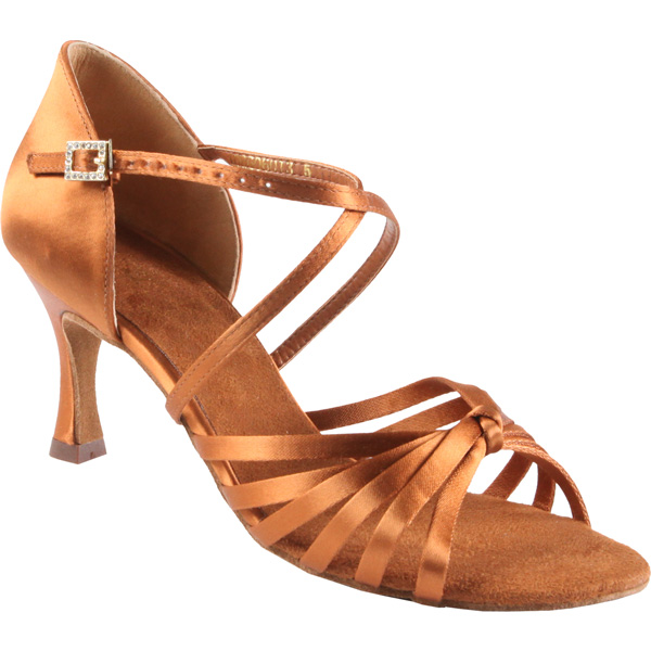 1066 - Ladies' Sandal Supadance Dark Tan Satin