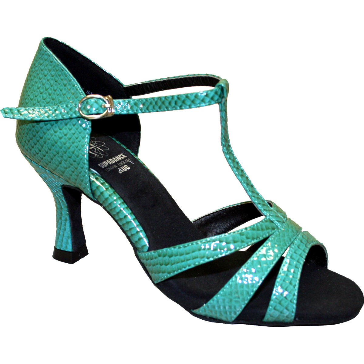 7831 - Ladies' Sandal Dance Club Teal Snake