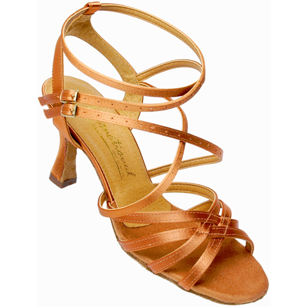 Nadia - Ladies' Sandal International Dance Shoes UK Tan Satin