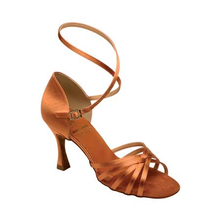 1403 - Ladies' Sandal Supadance Dark Tan Satin